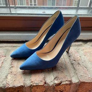 Nine West Tatiana Blue Suede Pointy Toe Pump Sz 9
